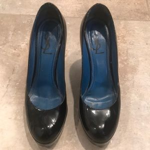 YSL Black Patent Leather Heels with Gold Tread